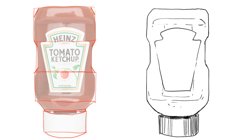 Drawing the contour lines of the ketchup bottle
