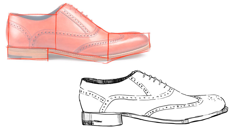 Drawing the contour lines of the shoe