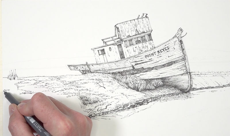 Drawing the foreground with pen and ink