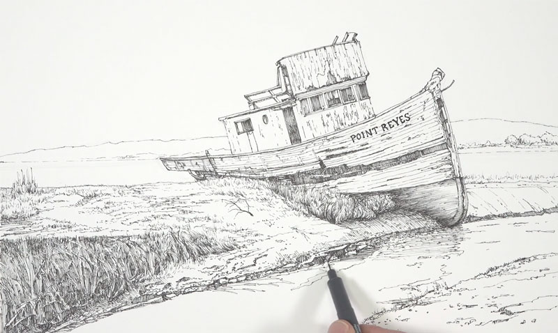 Drawing the water and grassy bank with pen and ink