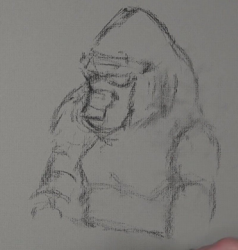 Gorilla sketch step 1 - drawing in the basic shapes