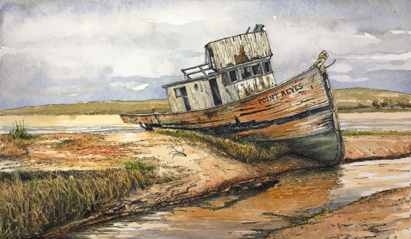 Ink and Watercolor painting - Old Boat