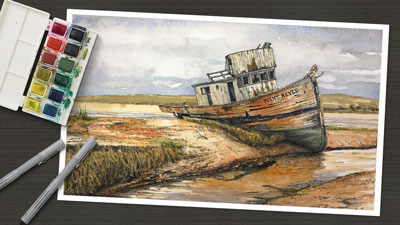 Ink and Watercolor - Old Boat
