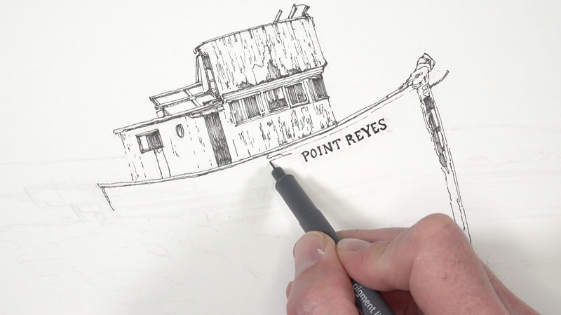 Initial pen and ink applications on the boat