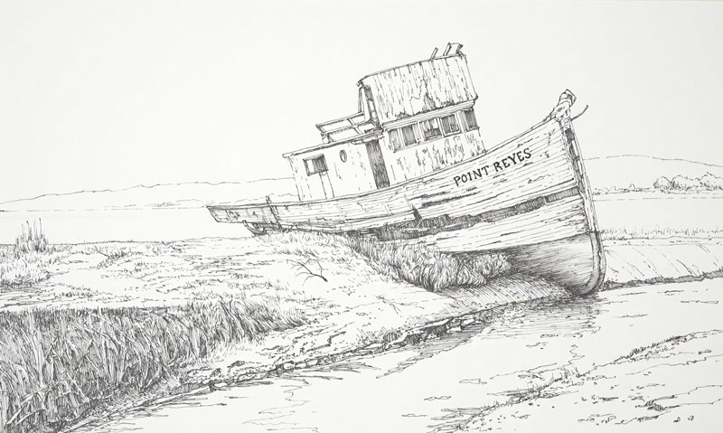 Pen and ink sketch of a old boat