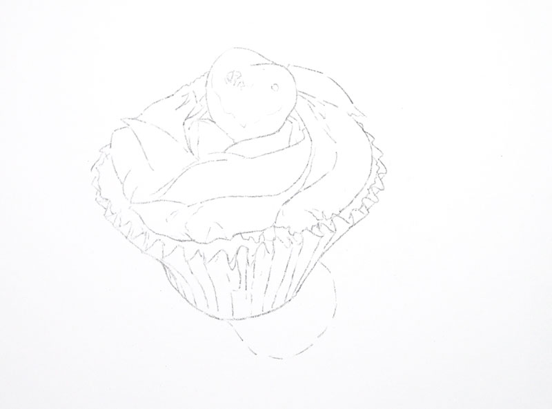 Transferred contour line drawing of a cupcake