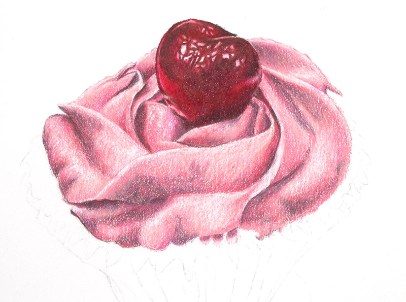 Finish drawing the icing on the cupcake