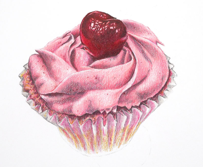 Begin drawing the cupcake wrapper