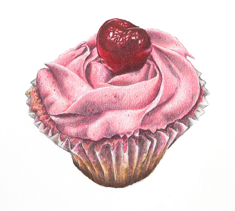 Finish drawing the cupcake wrapper