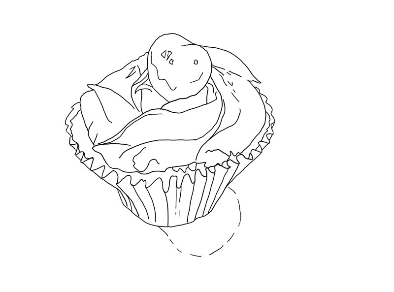 Contour line drawing of the cupcake
