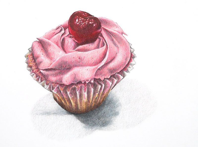 Drawing of a pink cupcake with colored pencils