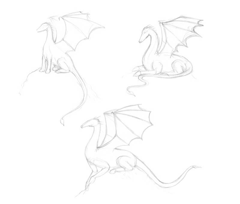 Sketching dragon poses