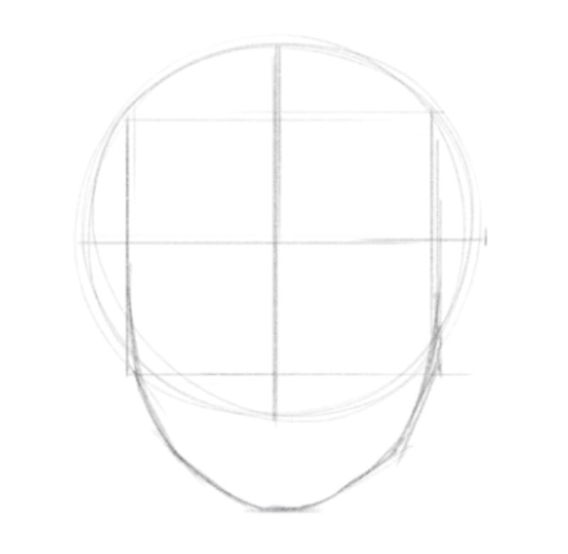 How to draw a head - step - 3 - draw a squre within the circle
