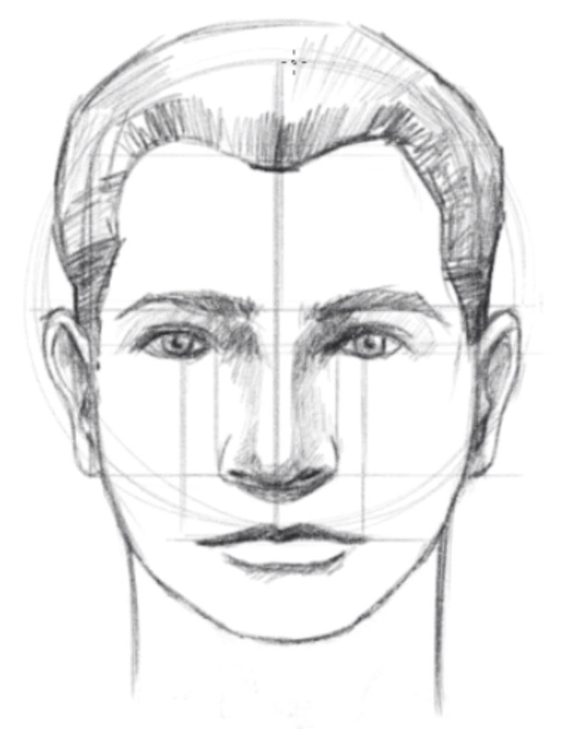 How to draw a face - step - 11 - Draw the Neck