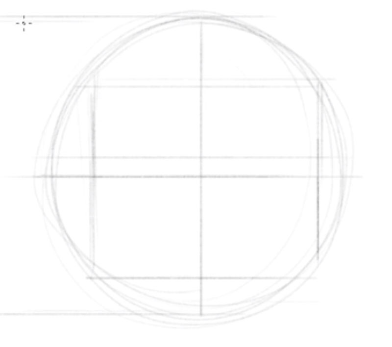 How to draw faces side view - step - 1 - Draw a circle and a cross