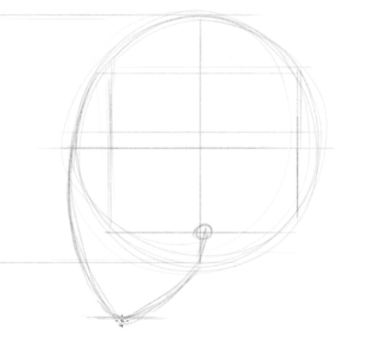 How to draw a face side view step by step - step - 3 - Add a Line from the Bottom of the Chin to the Center of the Square
