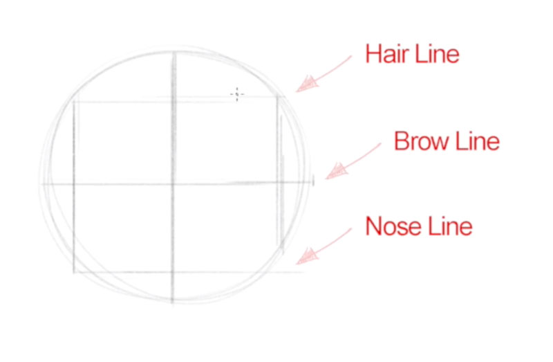 How to draw a face - step - 2 - draw a squre within the circle