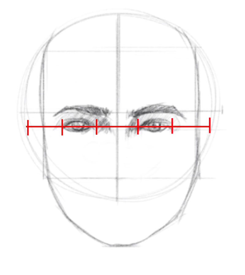 How to draw a face - step - 5 - Draw the eyes