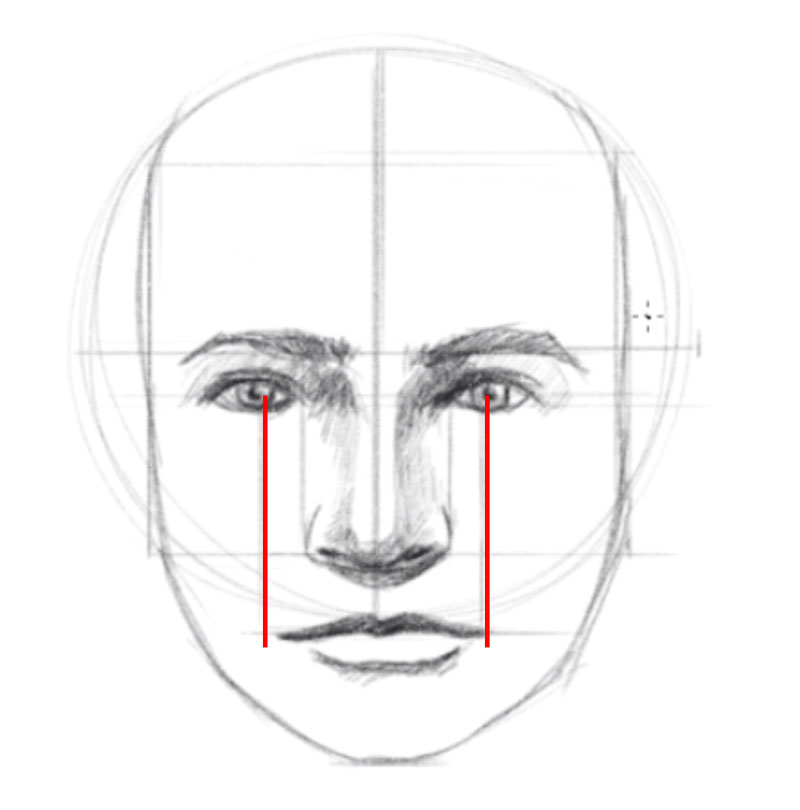 How to draw a head - step - 7 - Locate and draw the mouth