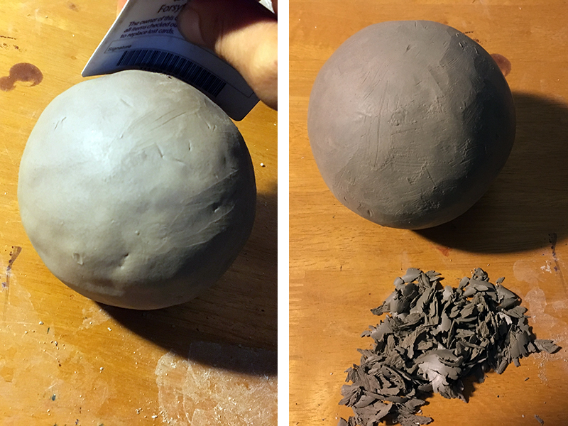Carving and shaping clay