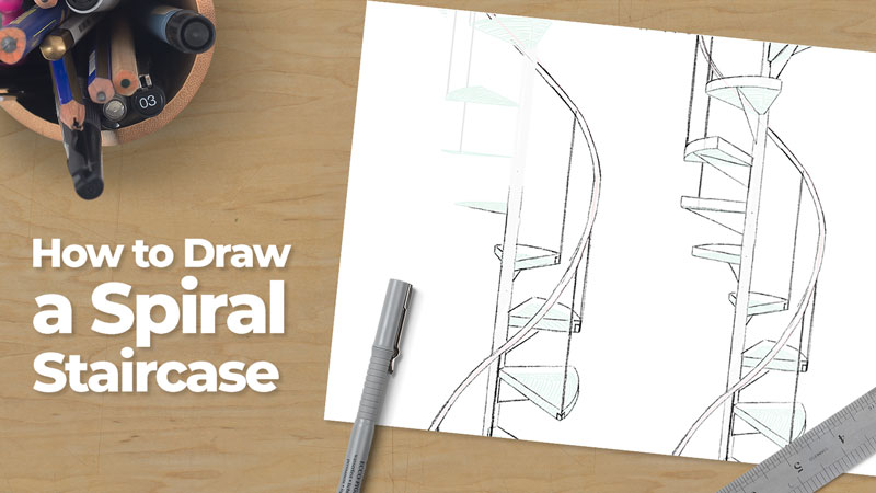 How to Draw a Spiral Staircase