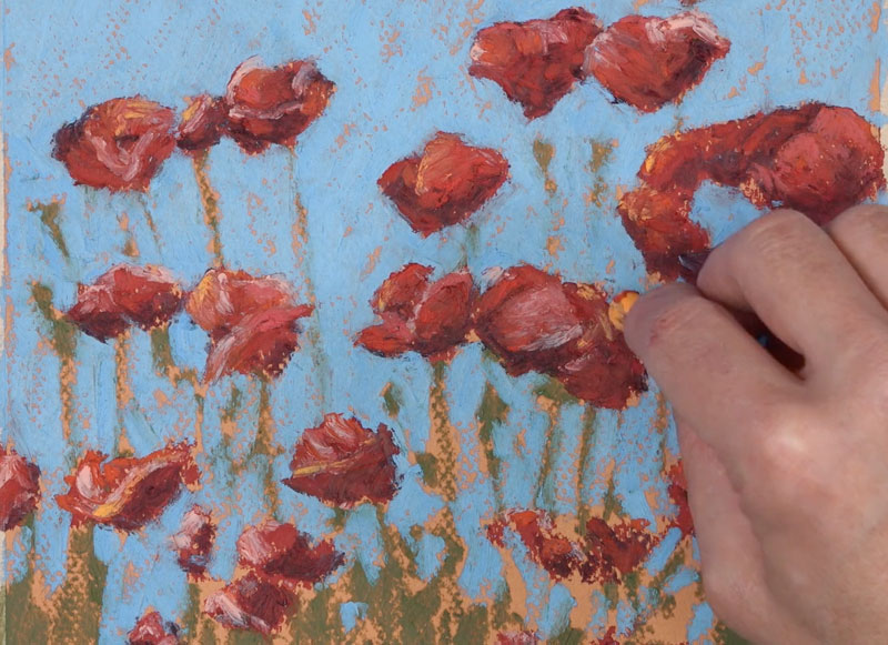 Adding warmth to the highlights on each flower