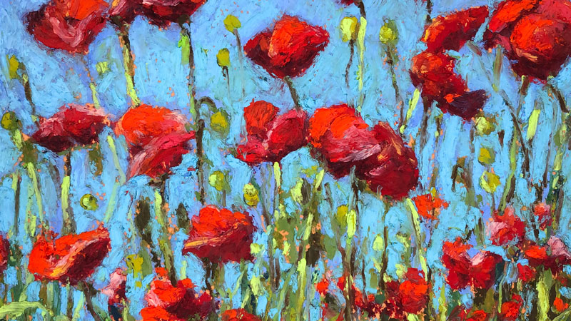 Oil Pastel Landscape Drawing - Red Poppies