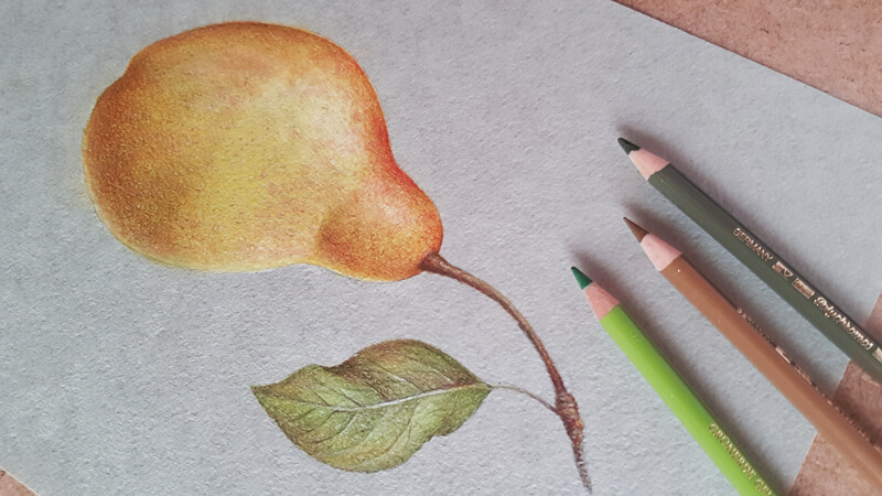 How to draw a pear with colored pencils - step by step