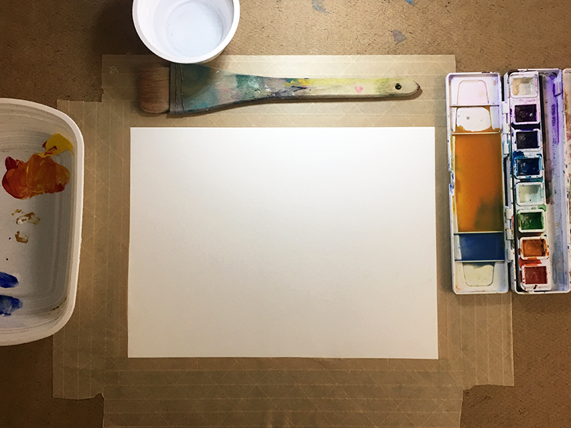 Preparing the surface to make watercolor washes