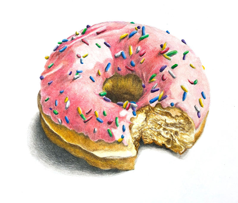 Colored pencil Drawing of a Doughnut