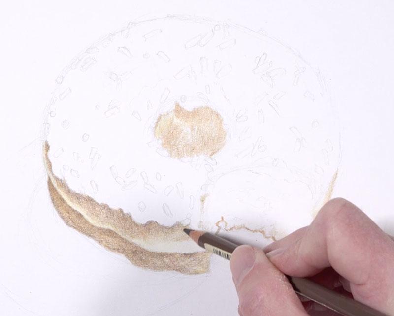 Coloring the dough on the doughnut