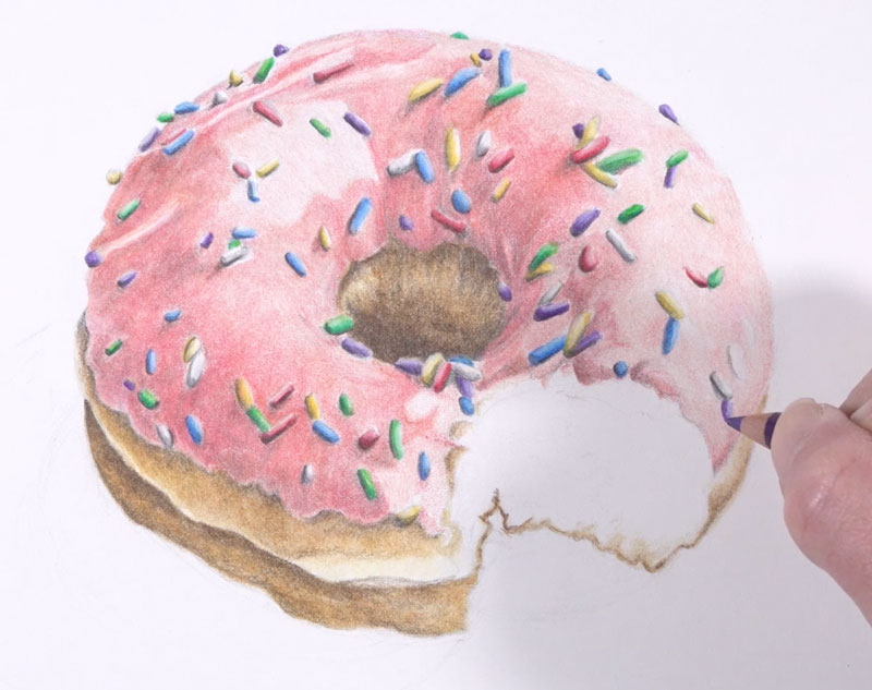 Drawing sprinkles on the doughnut