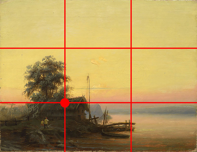 Example of a landscape painting that uses the rule of thirds