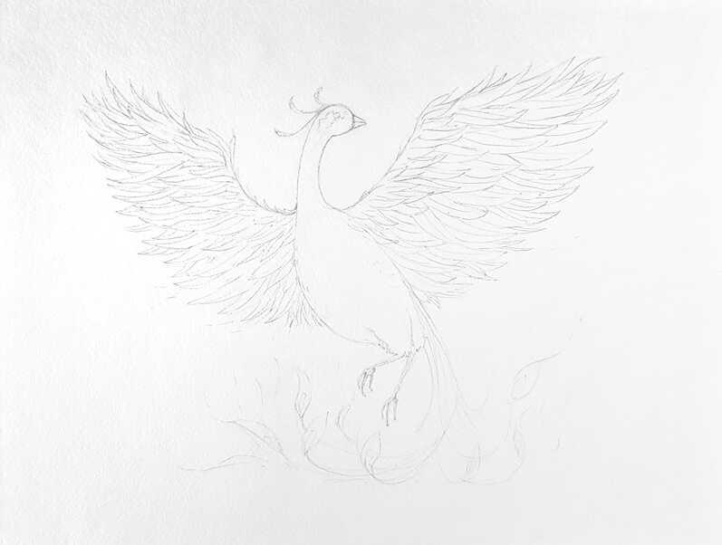 Pencil sketch of a phoenix