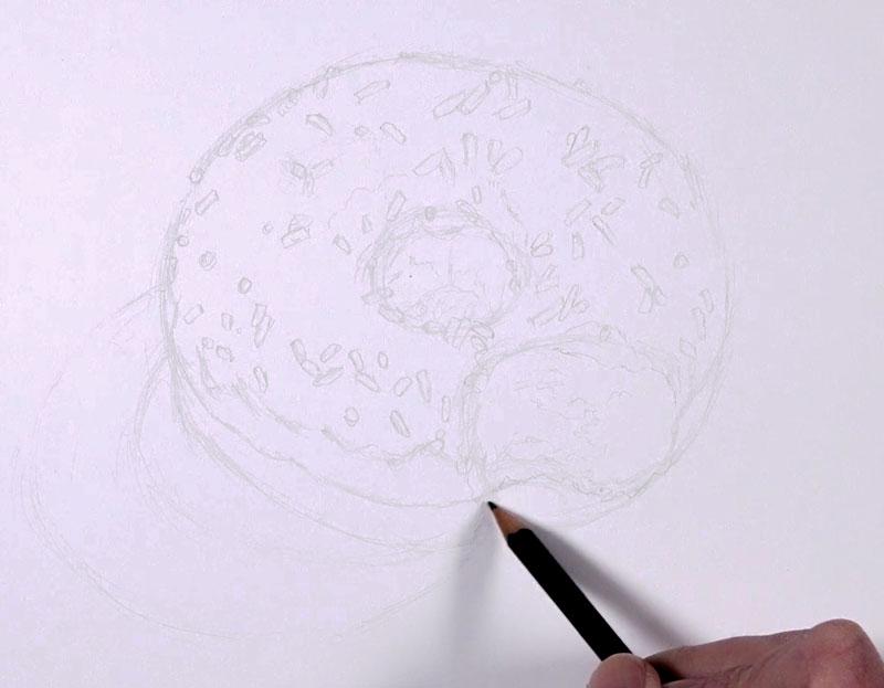 Doughnut sketch with pencil