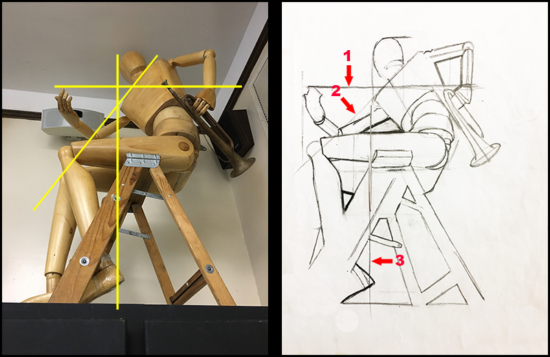 Figure drawing with alignment lines