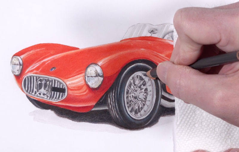 Drawing the details of the wheels