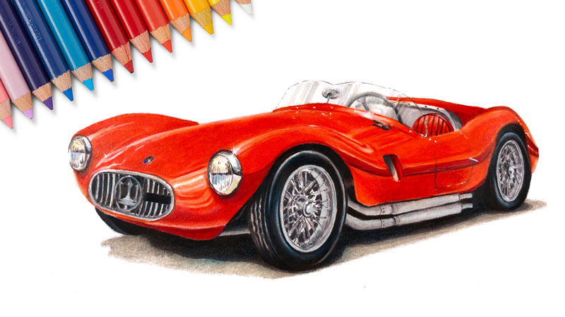 How to draw a sports car with colored pencils and markers
