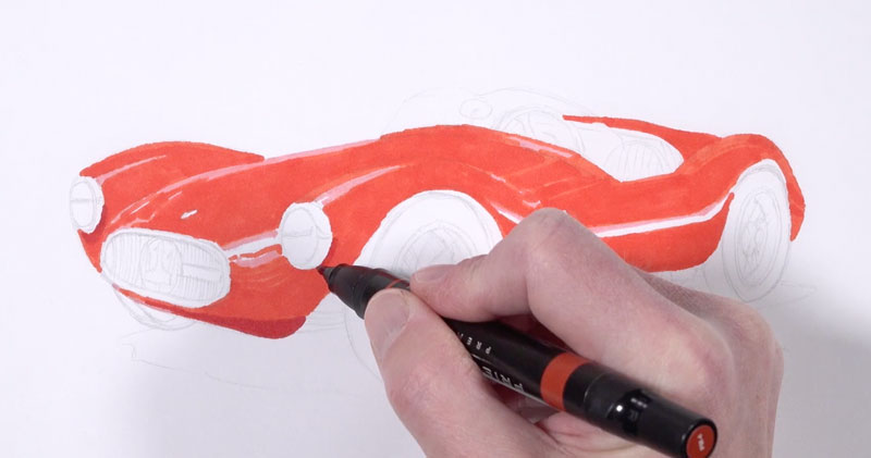 First marker applications on the body of the car