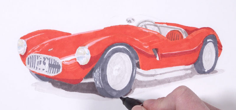 Additional layers of markers added to the body of the car and the shadow underneath