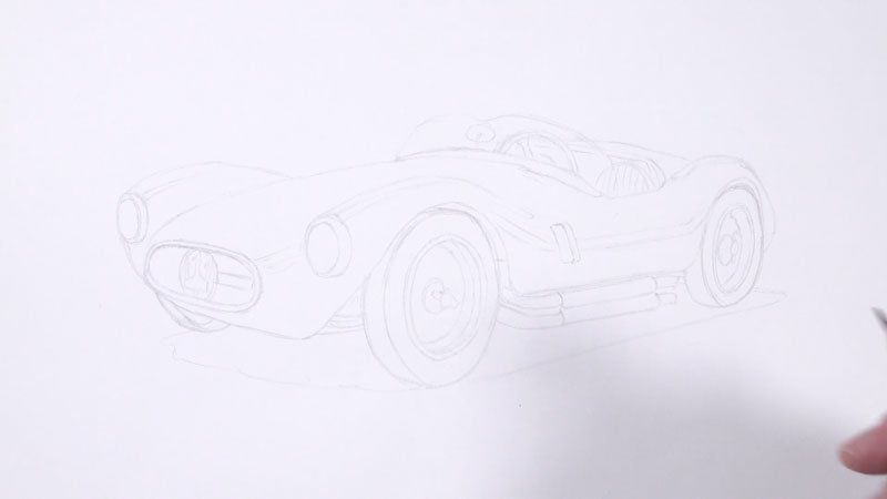 Pencil sketch of the sports car