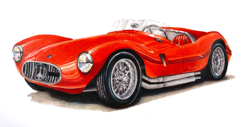 Sports Car Drawing with Colored Pencils and Markers