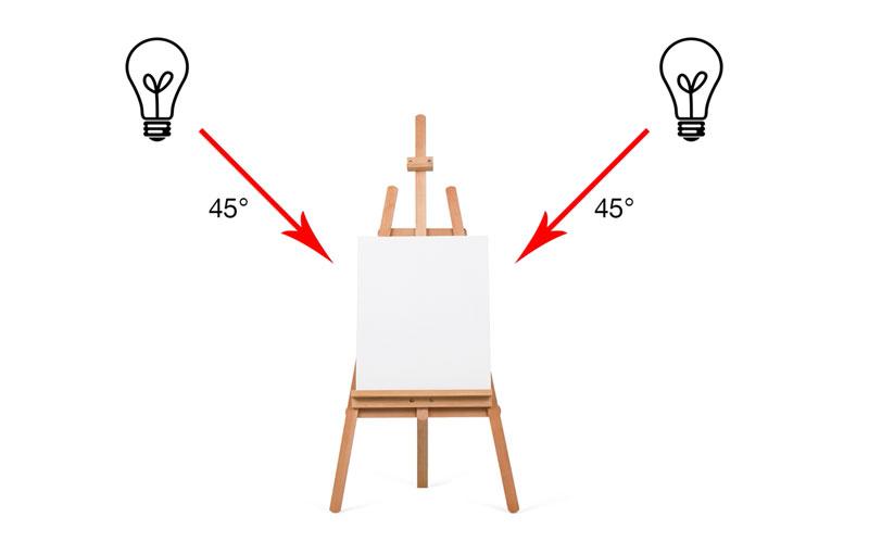 Art studio lighting - easel from the side
