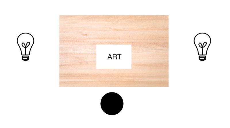 Art studio lighting flat surface above