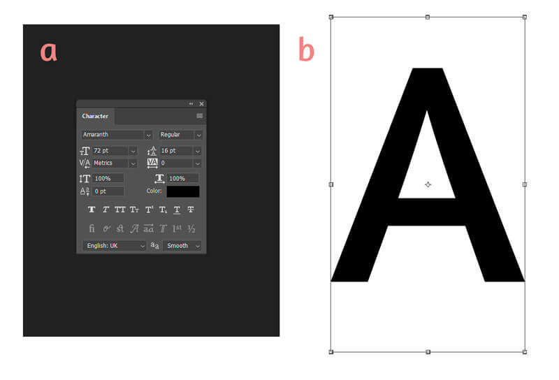 Resizing a letter in Photoshop