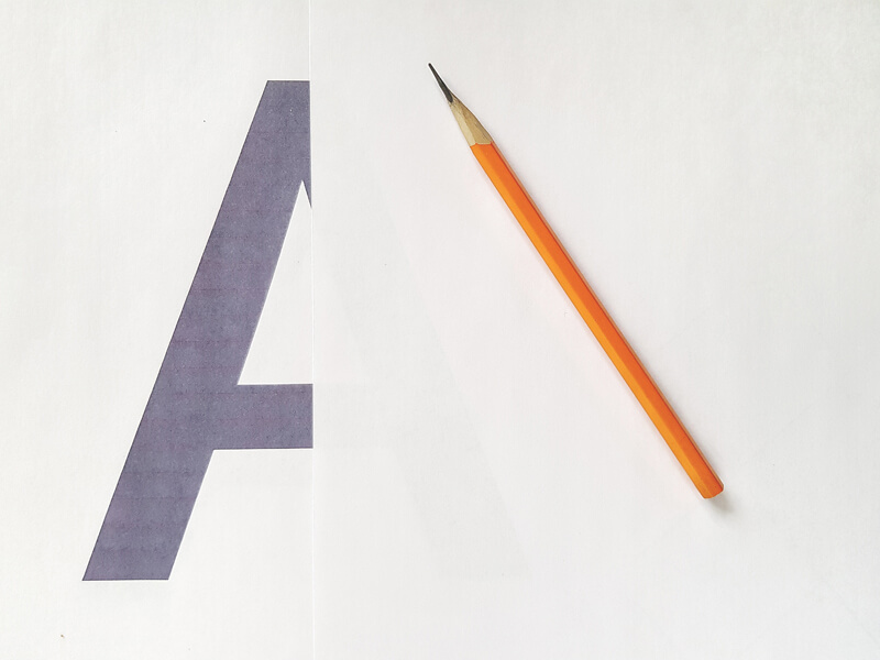 Printed letter for tracing