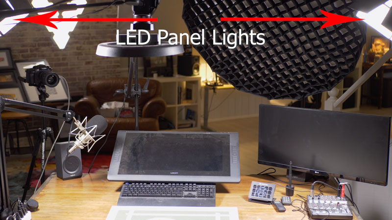 Art studio lighting setup