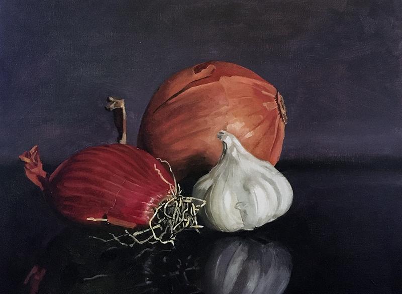 Still life painting of vegetables
