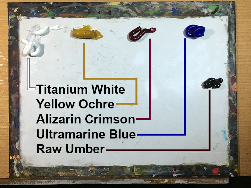Palette of colors for still life painting