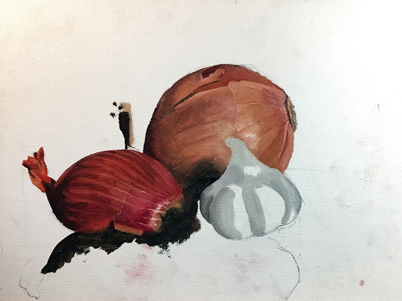 Painting the onion within the scene